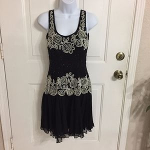 Kathryn Conover by night Black Beaded Pearl Dress